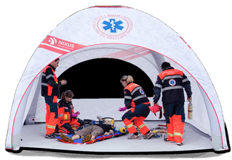 NIXUS LITE – A lightweight modular pneumatic tent utilising low pressure beams and a single inflation point for the quickest possible setup time.