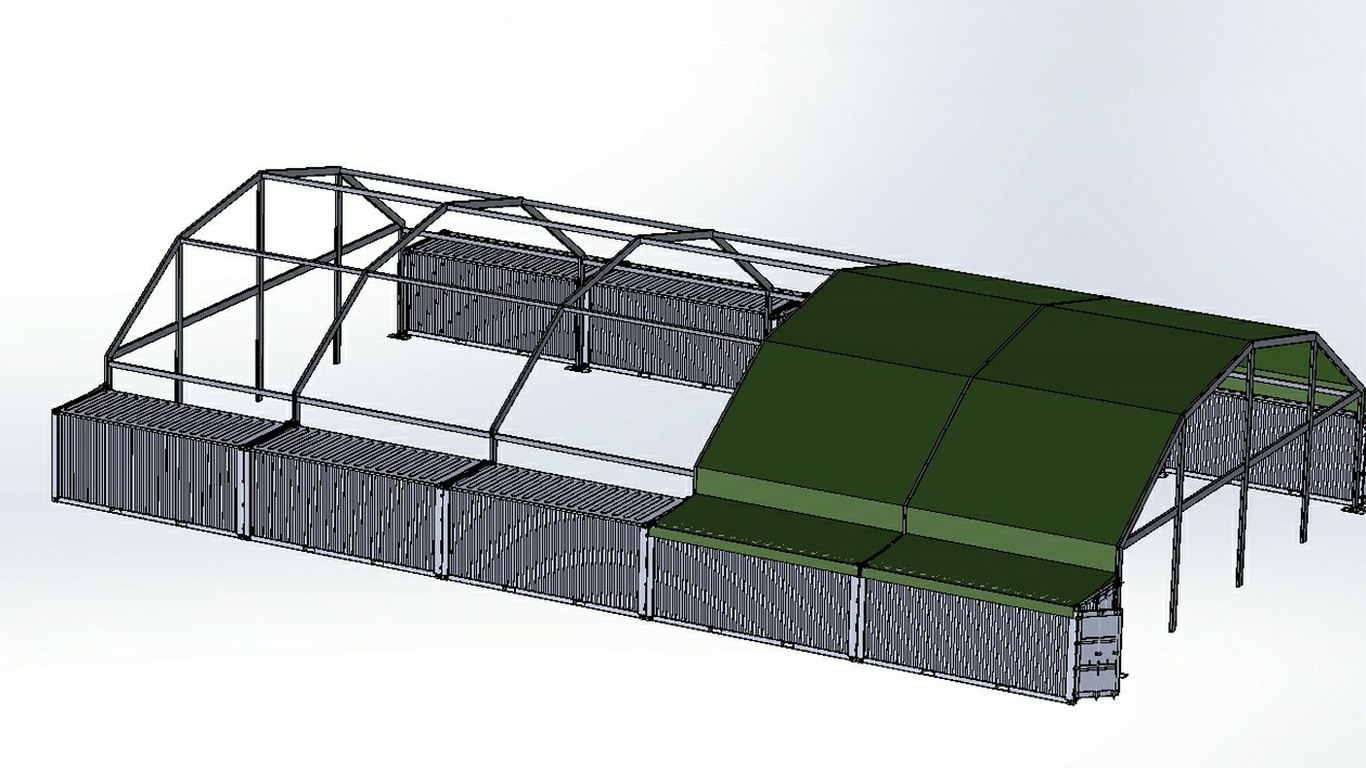 Military Gym based on ISO Containers with Aluminium/Fabric Roof