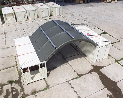 NIXUS Container Building with Inflatable Roof and 2 Containers