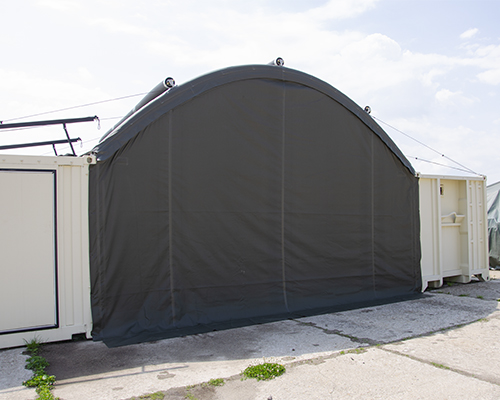 NIXUS Container Building with Inflatable Roof - Gable End