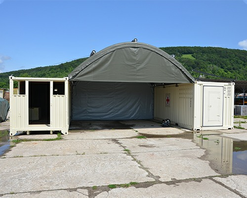 NIXUS Container Building with Inflatable Roof