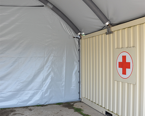 NIXUS Container Building with Inflatable Roof - Inside View