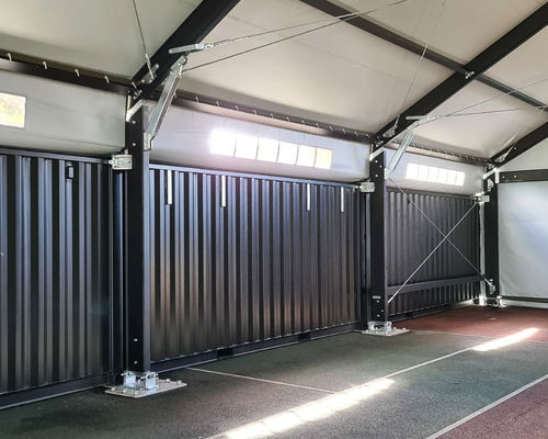 Container Building - Aluminium support structure for fabric roof