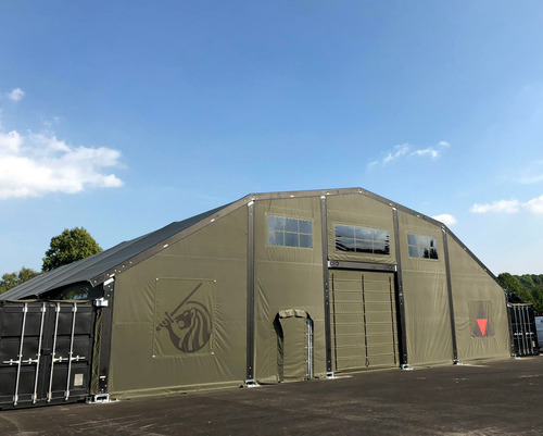 Container Building with Aluminium/Fabric Roof - Completed building