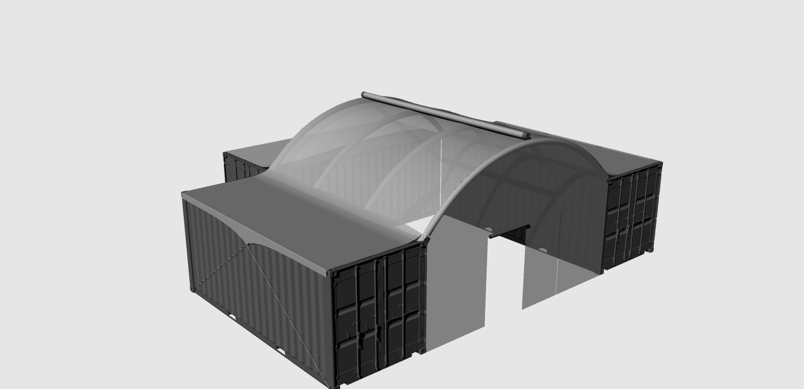 Container Building with Inflatable Roof - Inside view