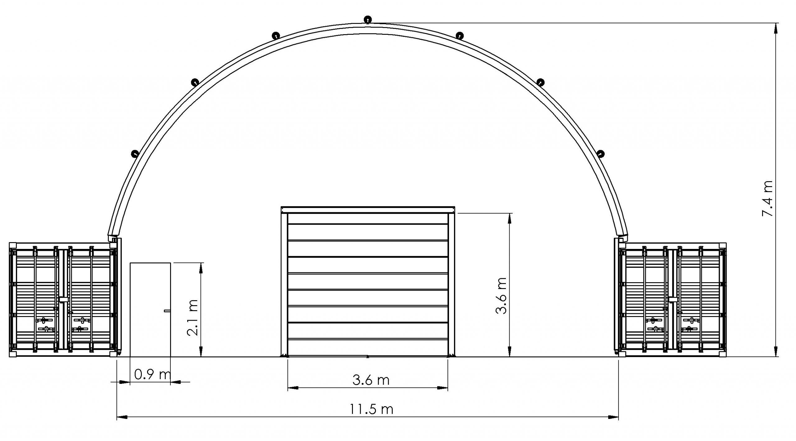 Container Building with Inflatable Roof - Elevation drawing