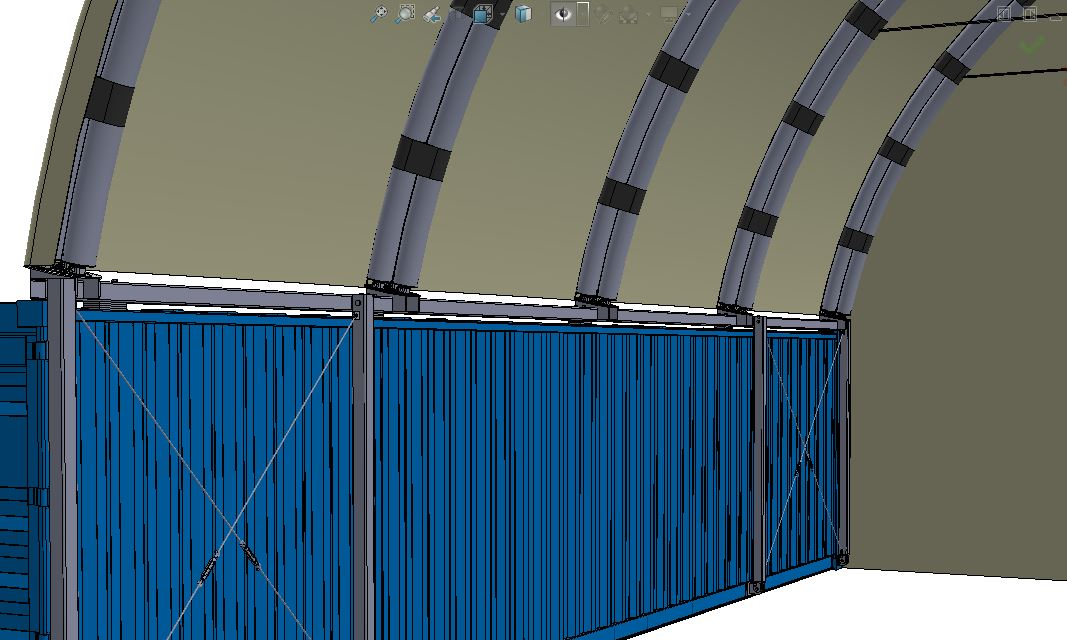 Container Building with Inflatable Roof - 11.5 m span